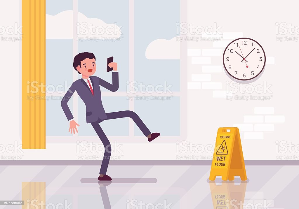 Man with a smartphone slipps on the wet floor vector art illustration