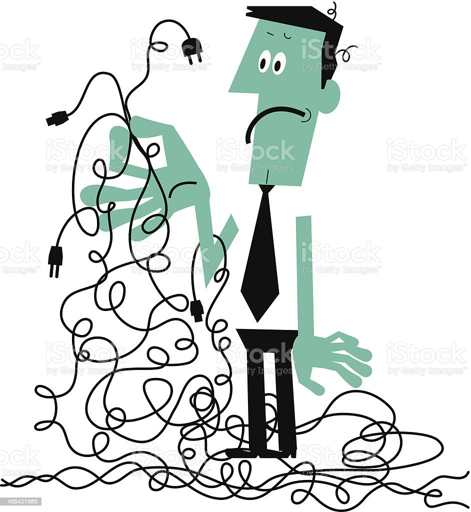 Man with a Tangled Mess of Wires vector art illustration