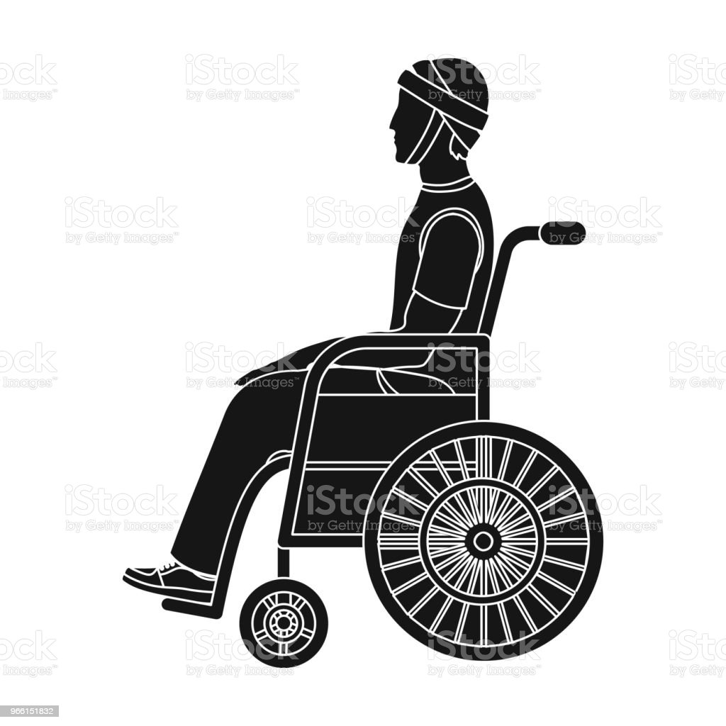 A man with a trauma in a wheelchair. Medicine single icon in black style vector symbol stock illustration web. - Royalty-free Adulto arte vetorial