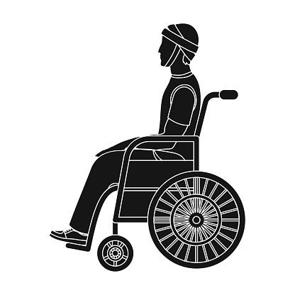 Ein Mann Mit Einem Trauma In Einem Rollstuhl Medizin Einzelnes Symbol Im Schwarzen Stil Vektor Symbol Lager Abbildung Web Stock Vektor Art und mehr Bilder von Andersfähigkeiten