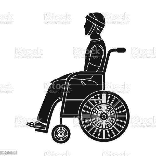Мужчина С Травмой В Инвалидной Коляске Медицина Одной Иконки В Черном Стиле Вектор Символ Фондовой Иллюстрации Веб — стоковая векторная графика и другие изображения на тему Бинт
