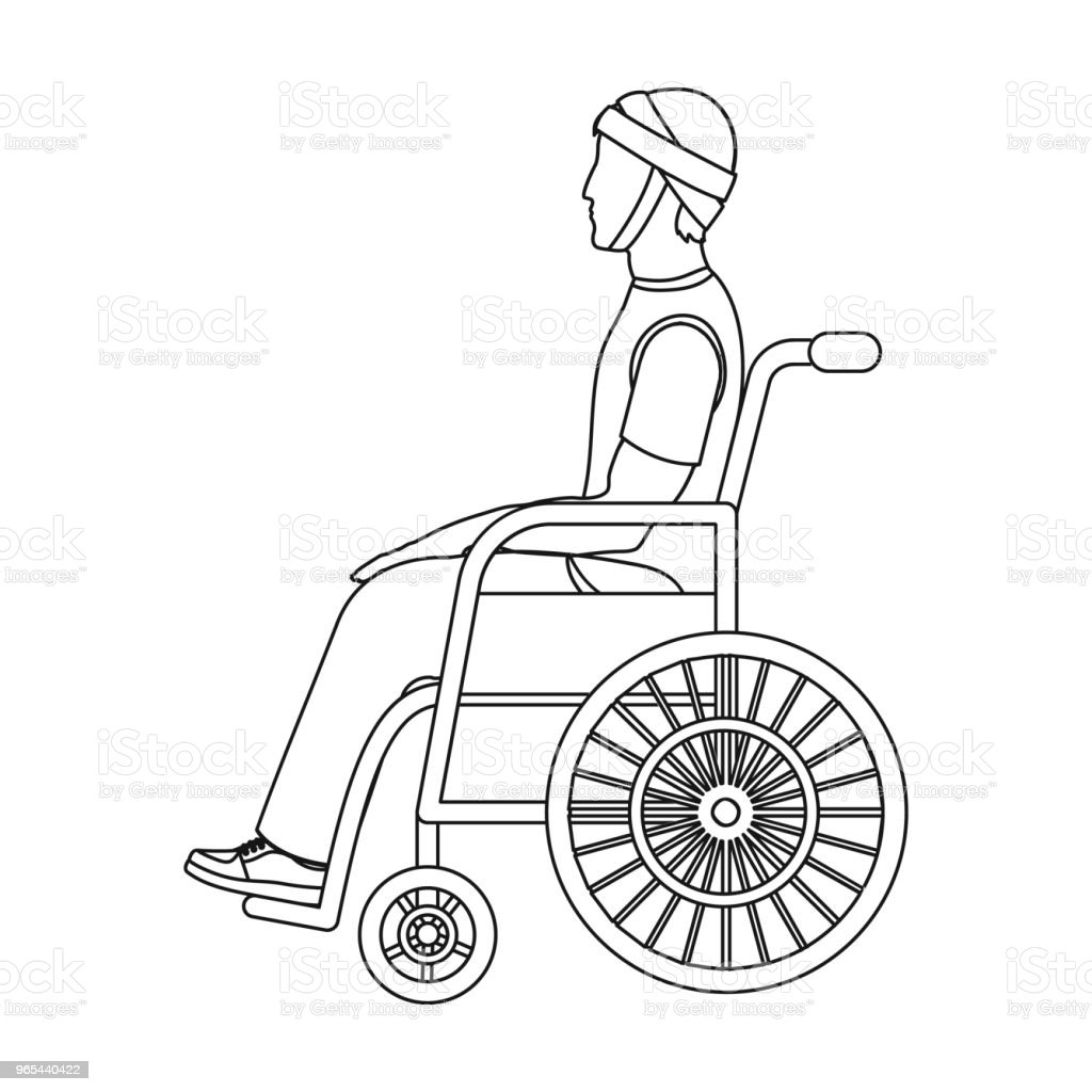 A man with a trauma in a wheelchair. Medicine single icon in outline style vector symbol stock illustration web. a man with a trauma in a wheelchair medicine single icon in outline style vector symbol stock illustration web - stockowe grafiki wektorowe i więcej obrazów bandaż royalty-free