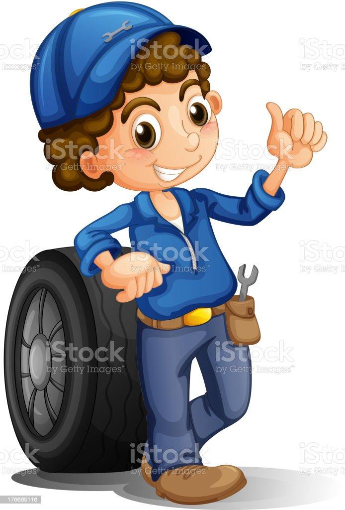 Hombre con una rueda en su espalda ilustración de hombre con una rueda en su espalda y más banco de imágenes de adulto libre de derechos