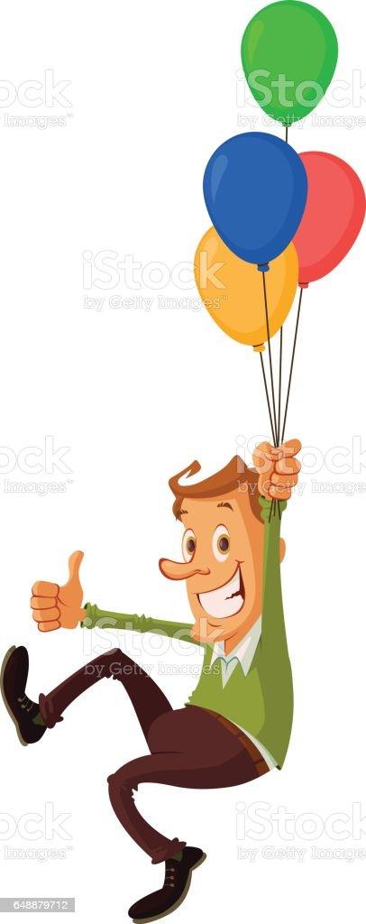 man with air balloons vector art illustration
