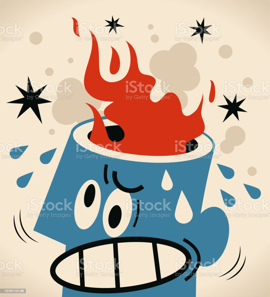 Man with an opened head and fire disaster vector art illustration