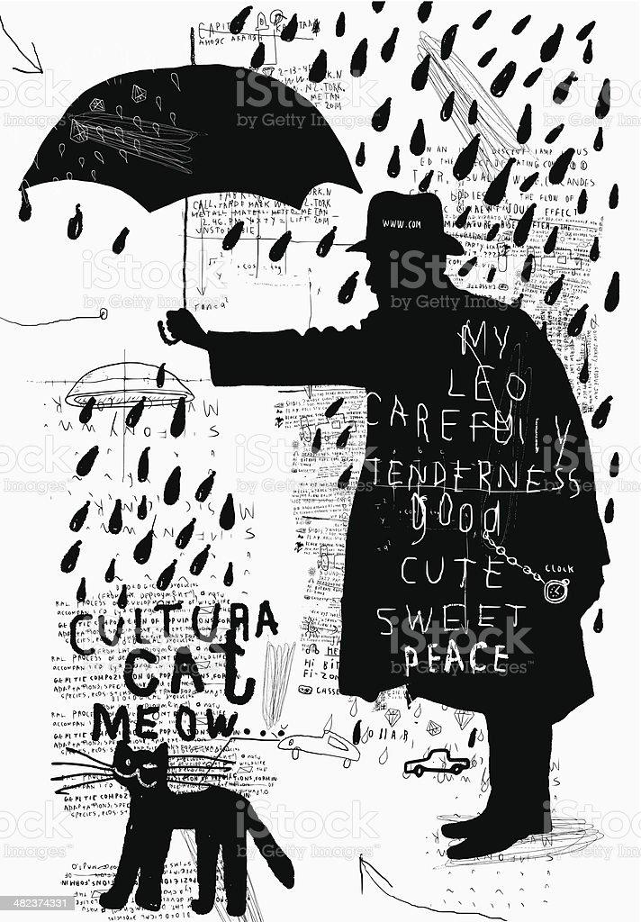 Man with an umbrella vector art illustration