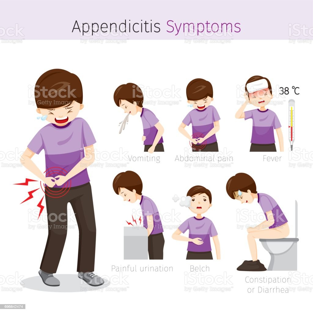 Man With Appendicitis Symptoms vector art illustration