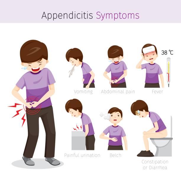 Man With Appendicitis Symptoms vector art illustration