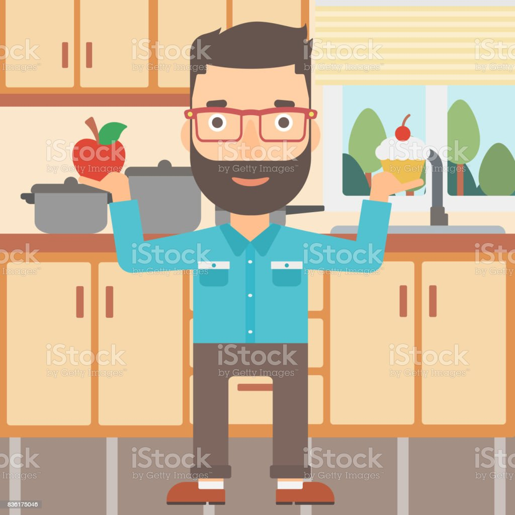 Man With Apple And Cake Stock Vector Art & More Images of Adult ...