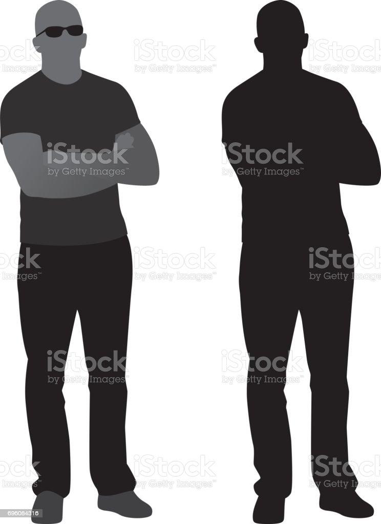 Hombre con los brazos cruzados silueta - ilustración de arte vectorial