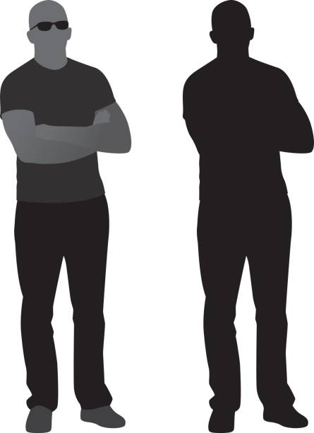 Man with Arms Crossed Silhouette vector art illustration