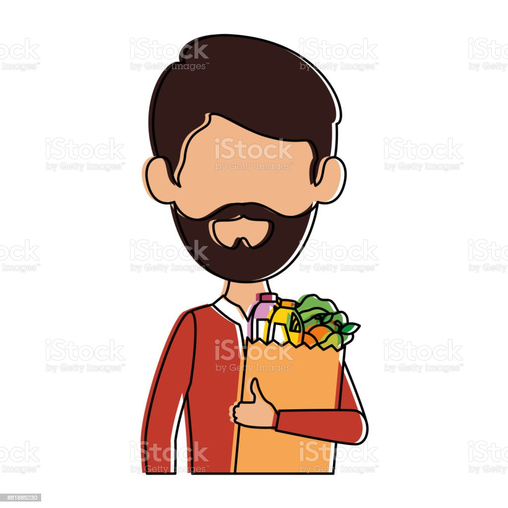 man with bag of groceries vector art illustration