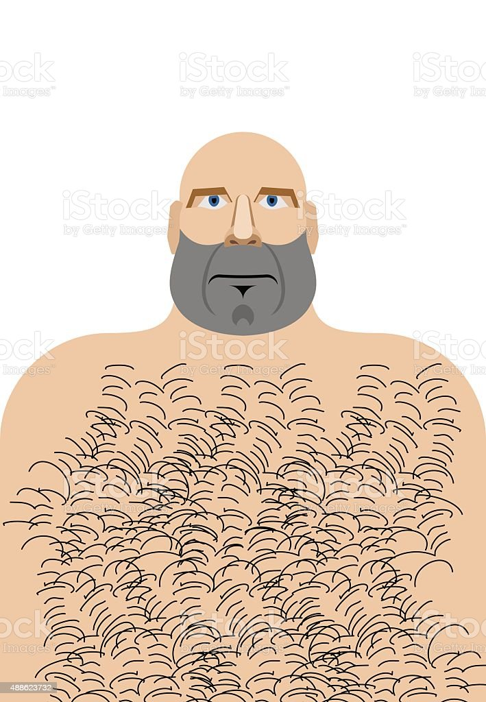 Man with bald head. Hillbilly with hairy chest. Vector illustrat vector art illustration