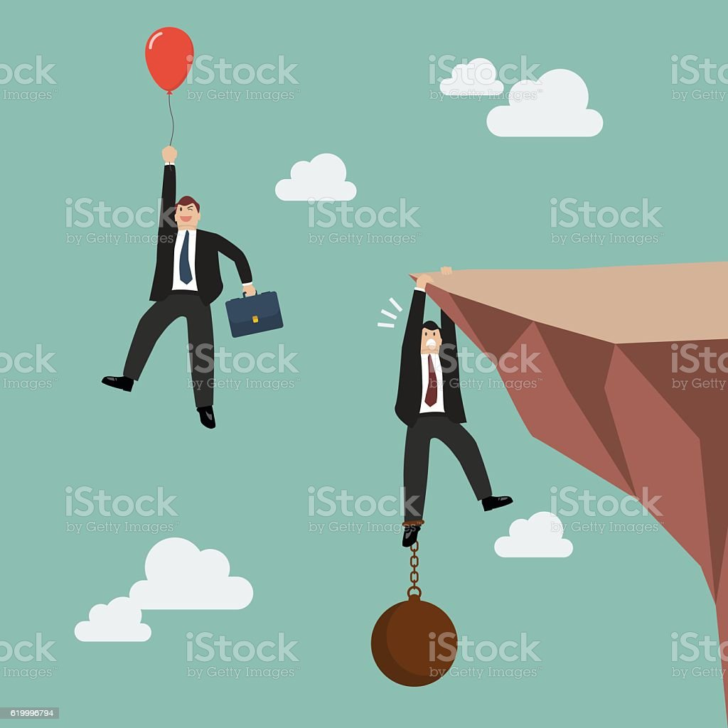 Man with balloon fly pass man hold on the cliff - Illustration vectorielle