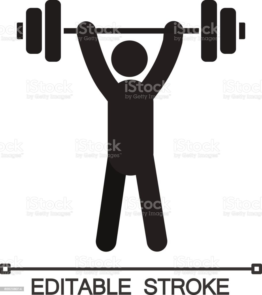 Man with barbell icon vector art illustration