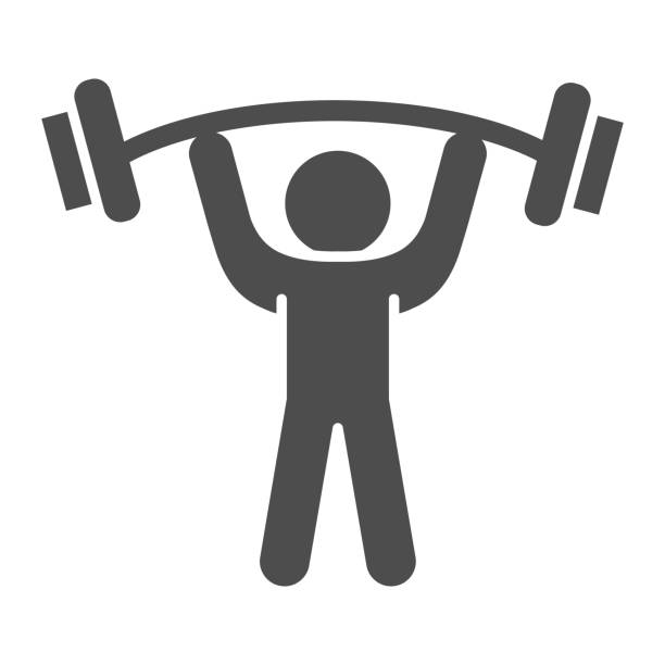 Man with barbell solid icon, bodybuilding concept, Weightlifter sign on white background, Man lifting weight icon in glyph style for mobile concept and web design. Vector graphics. Man with barbell solid icon, bodybuilding concept, Weightlifter sign on white background, Man lifting weight icon in glyph style for mobile concept and web design. Vector graphics active lifestyle stock illustrations