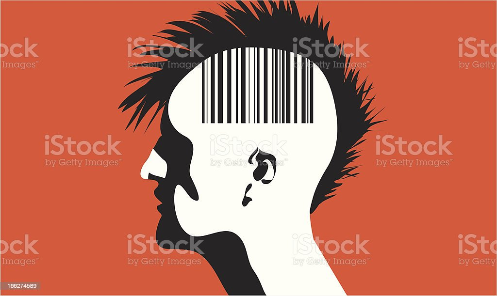 Man with barcode vector art illustration