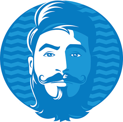 Man with beard and blue background
