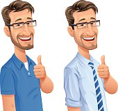 A smiling man with beard and glasses in business and casual clothes gesturing thumbs up. EPS 8, grouped and labeled in layers.