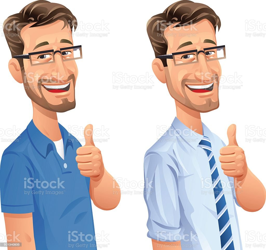 Man With Beard Gesturing Thumbs Up vector art illustration
