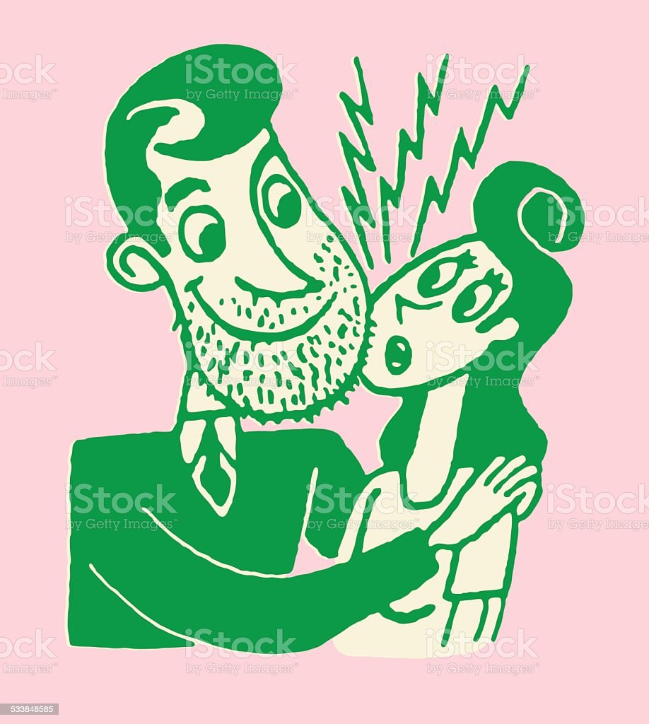 Man with Beard Stubble Rubbing Woman's Face vector art illustration