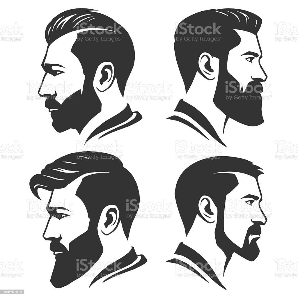 Man with beard variations silhouette - ilustración de arte vectorial