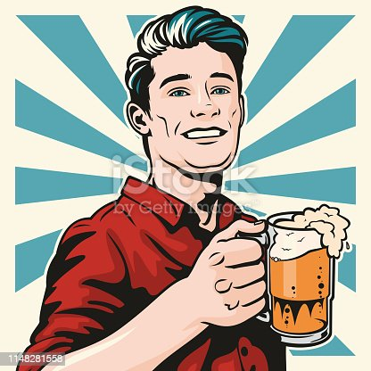 Retro style pop art illustration of a handsome young man standing with a big glass of lovely beer in his hand. Cheers!