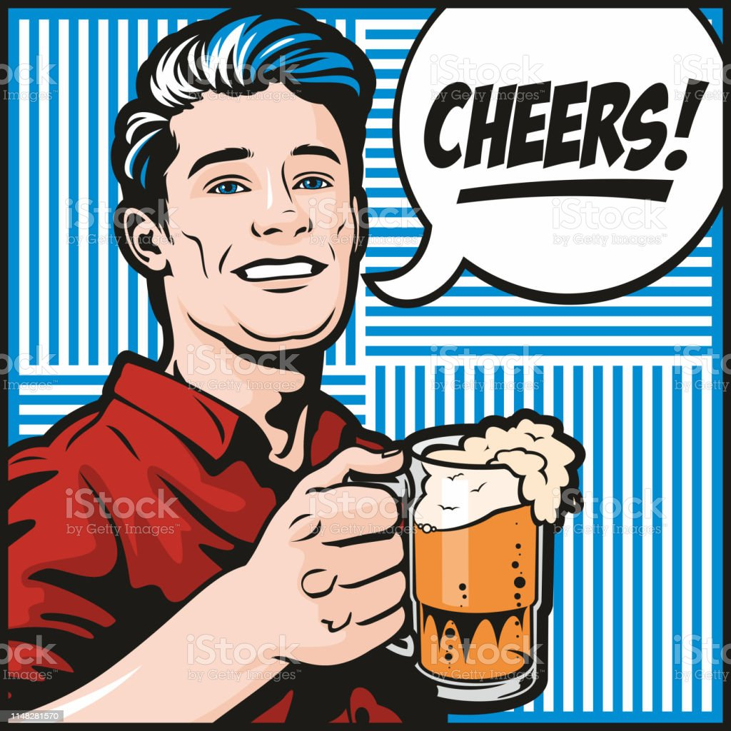 Man With Beer vector art illustration