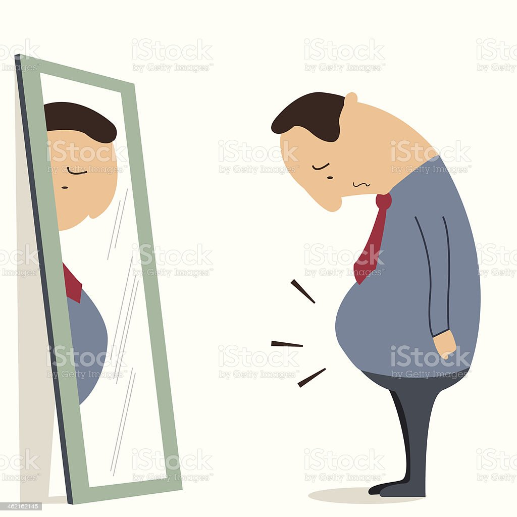 Man with big belly vector art illustration