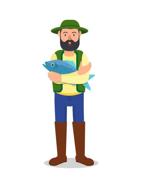 白い背景に手に大きな青い魚を持つ男 - 漁師点のイラスト素材/クリップアート素材/マンガ素材/アイコン素材