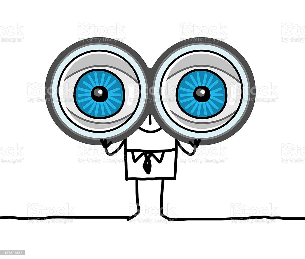 man with big eyes & binoculars vector art illustration