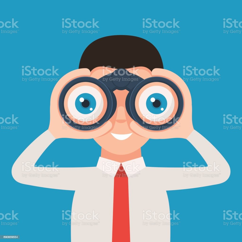 Man with binoculars vector art illustration