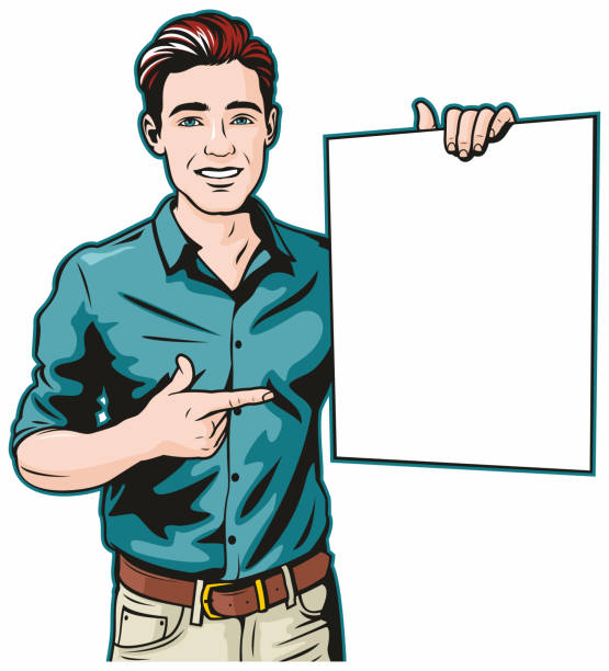 Man With Blank Sign vector art illustration