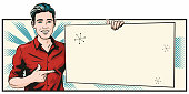 Pop art style retro illustration of a handsome young man holding a blank sign.