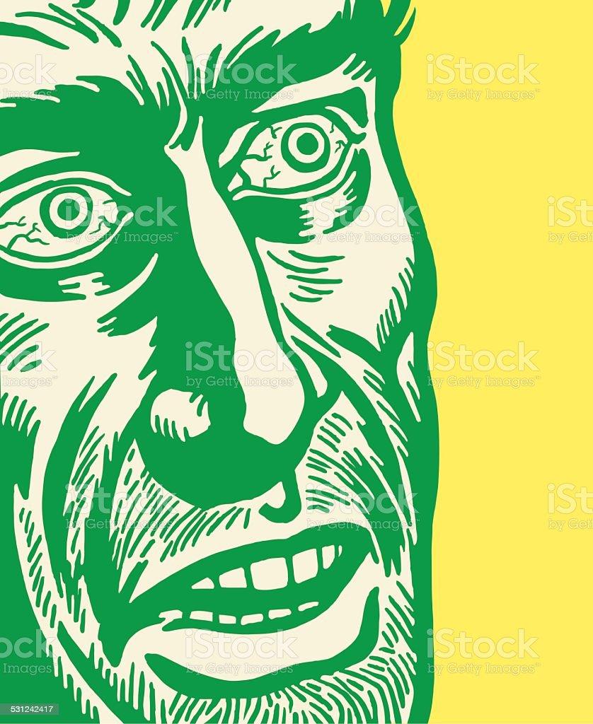 Man With Bloodshot Eyes vector art illustration