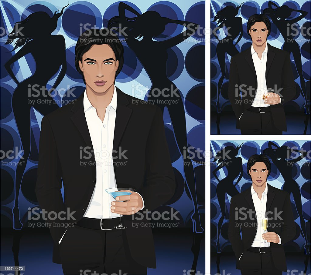 Man with blue martini or cognac and champagne vector art illustration