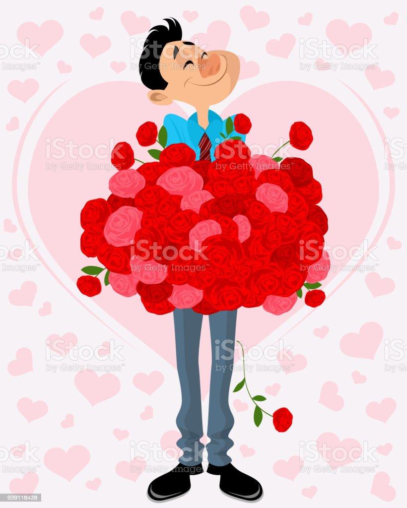 Man with bouquet of flowers stock vector art more images of adult man with bouquet of flowers royalty free man with bouquet of flowers stock vector art izmirmasajfo