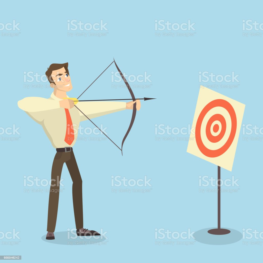 Man With Bow Arrow And Target Royalty Free