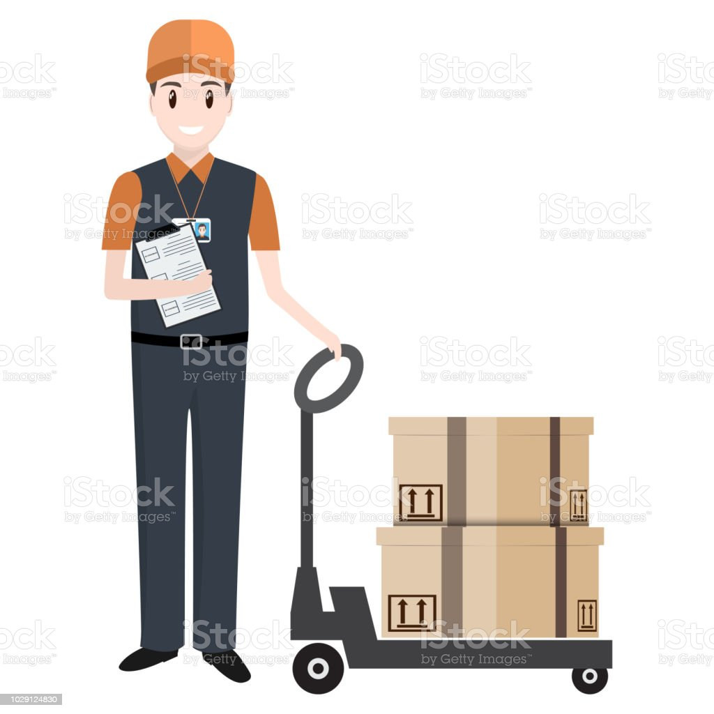 Man With Boxes And Hand Pallet Jack Lift Icom Delivery Or
