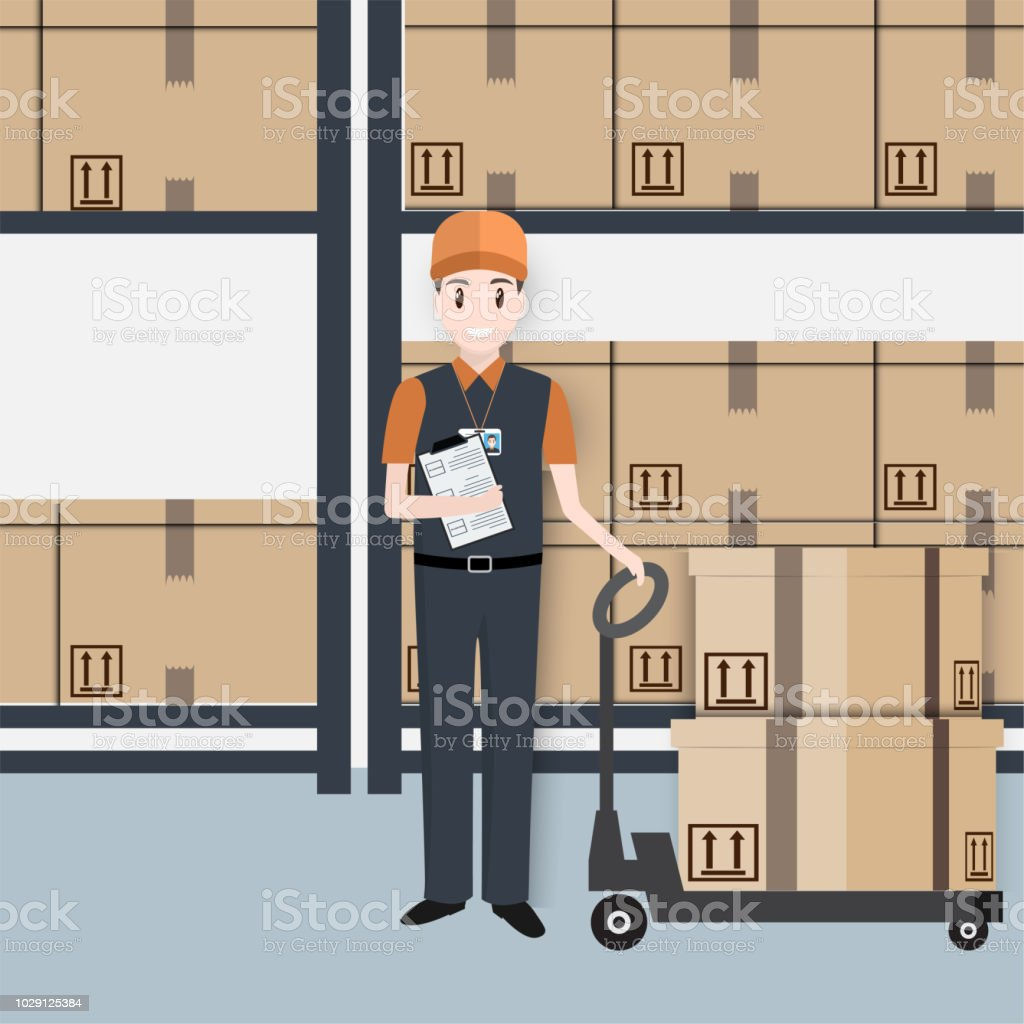 Man With Boxes And Hand Pallet Jack Lift Icom Warehouse