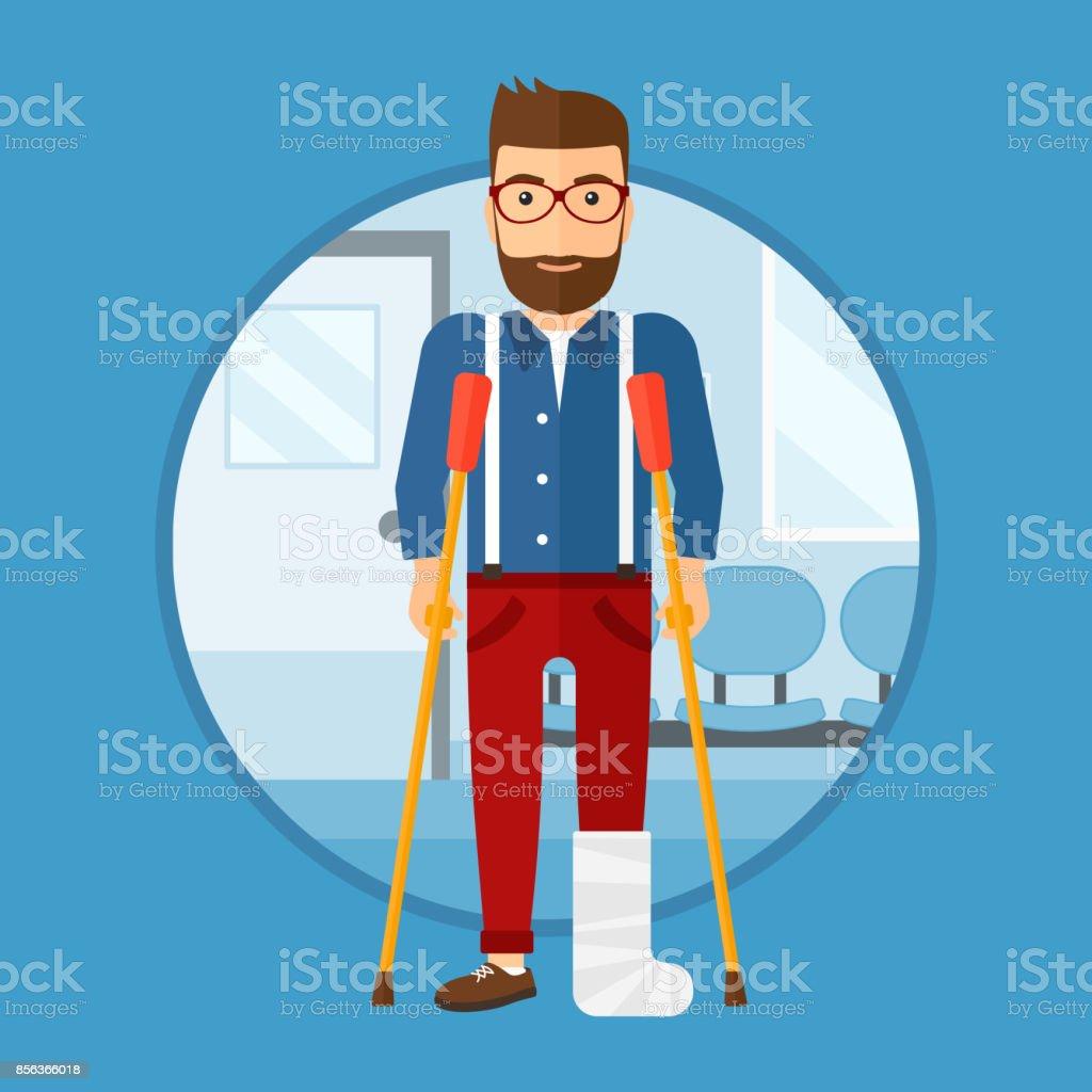 Man with broken leg and crutches vector art illustration