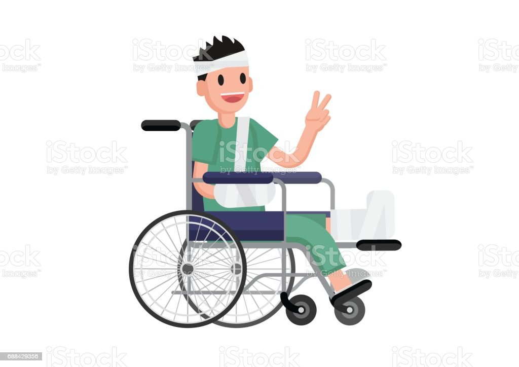 A man with broken leg siting in the wheelchair. vector art illustration