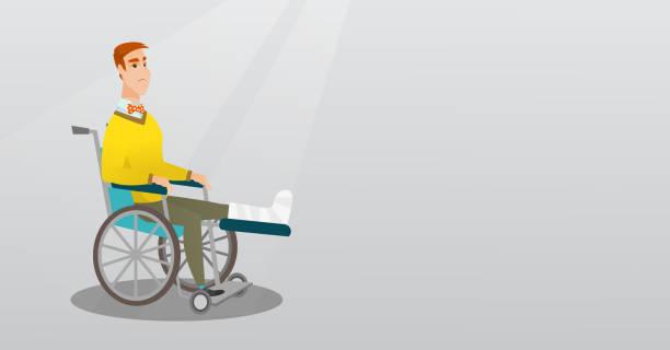 Man with broken leg sitting in a wheelchair vector art illustration
