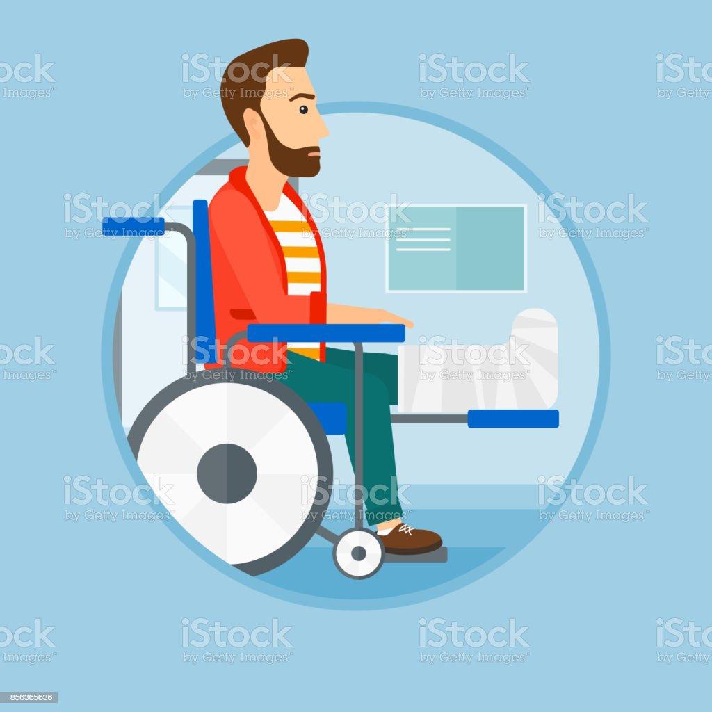 Man with broken leg sitting in wheelchair vector art illustration