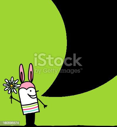 istock man with bunny hat & flower for Easter 160595574