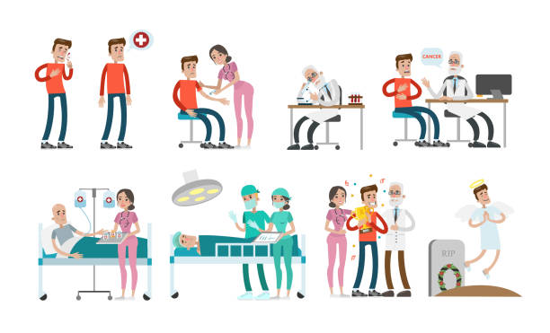 man with cancer set. - cancer patient stock illustrations