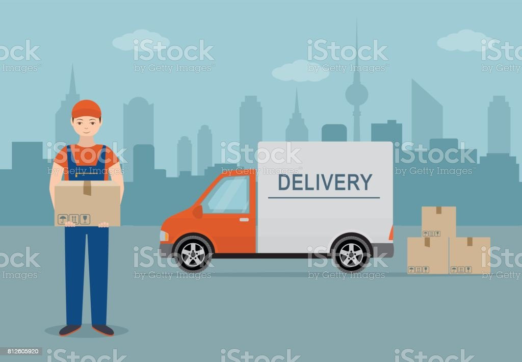 Man with cardboard box and delivery van on city background. vector art illustration