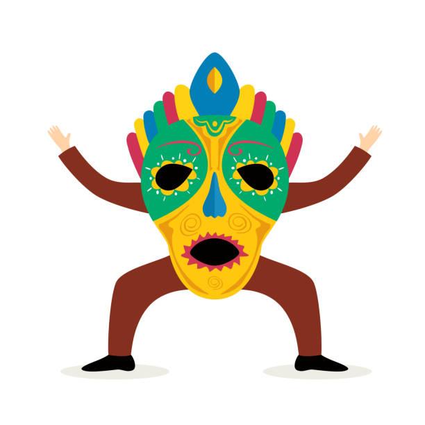 ilustrações de stock, clip art, desenhos animados e ícones de man with carnival mask - afro latino mask