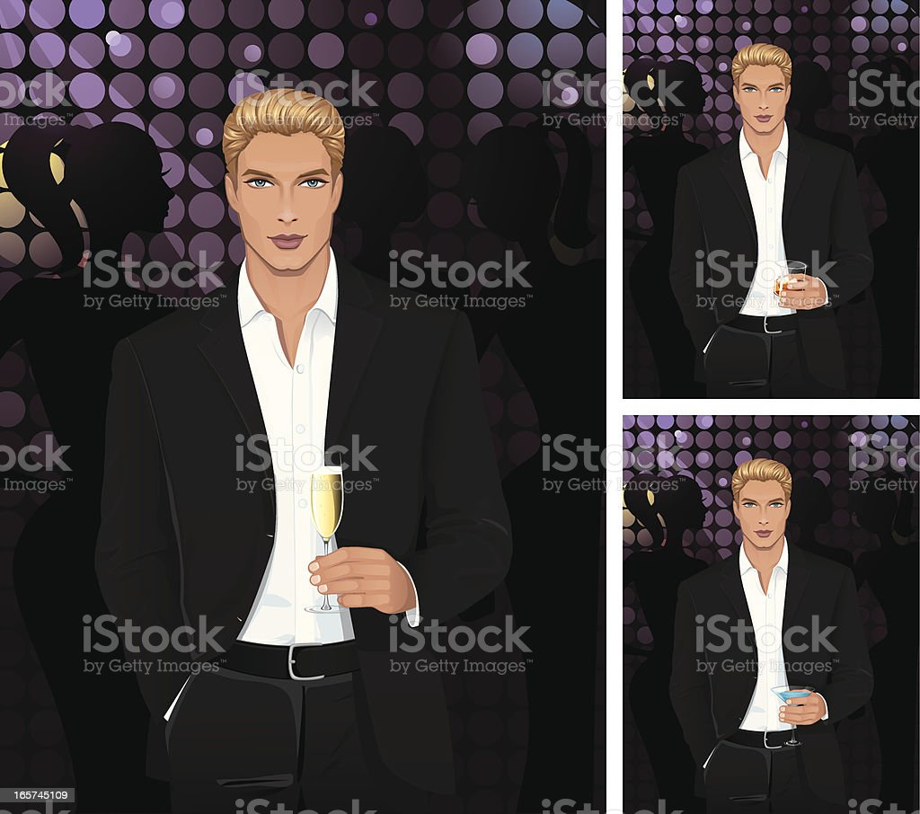 Man with champagne or cognac and blue martini vector art illustration