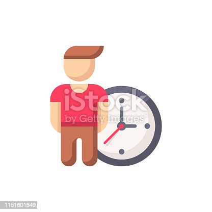 Man with Clock Flat Icon.